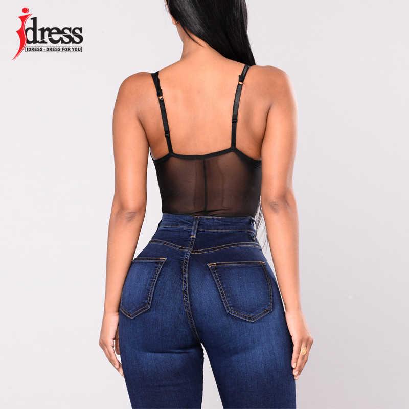 Vestido nuevo Sexy espalda descubierta correas de encaje Bodysuit perspectiva negro malla Body Jumpsuit Romper mujeres verano fiesta monos