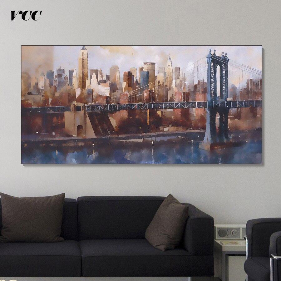 The Living Room Music Brooklyn: New York Brooklyn Bridge Wall Art Canvas Painting,Wall