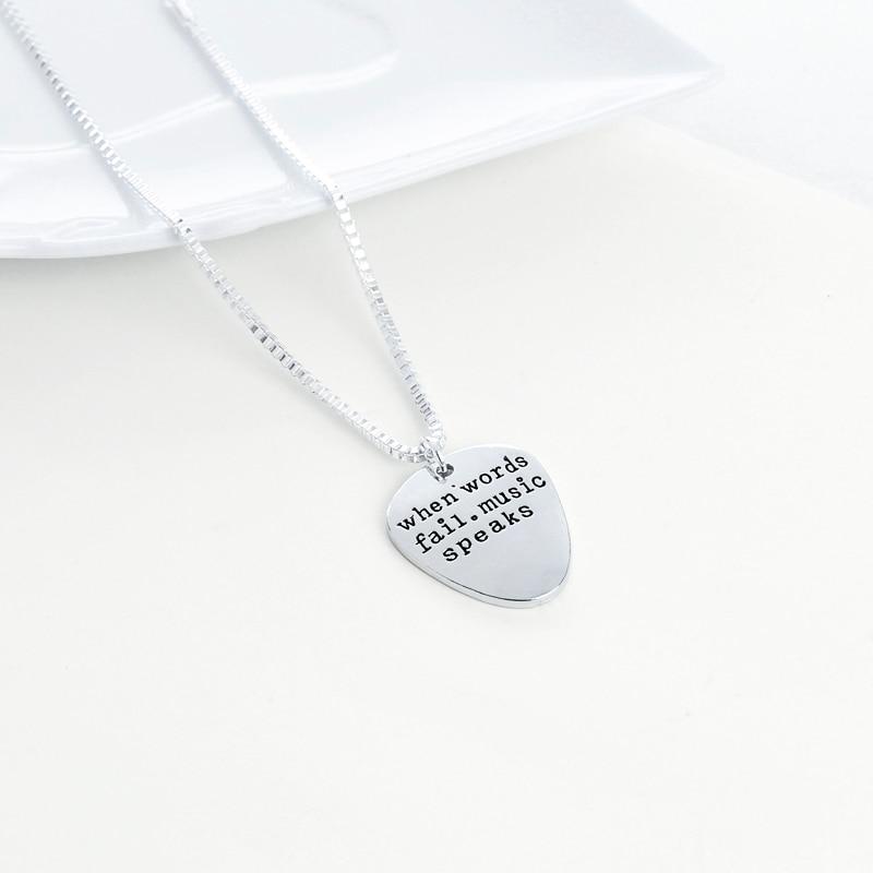 High Quality Couples Necklace Letter Pendant Guitar Pick Pendant Choker