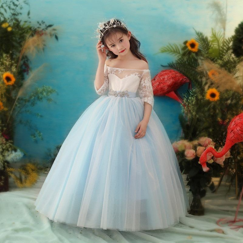 2019 Kids Girl Lace Mesh Cute Princess Dress Children Sashes Wedding Birthday Party Gown Teen Girl Elegant Prom Pageant Gown Q582019 Kids Girl Lace Mesh Cute Princess Dress Children Sashes Wedding Birthday Party Gown Teen Girl Elegant Prom Pageant Gown Q58