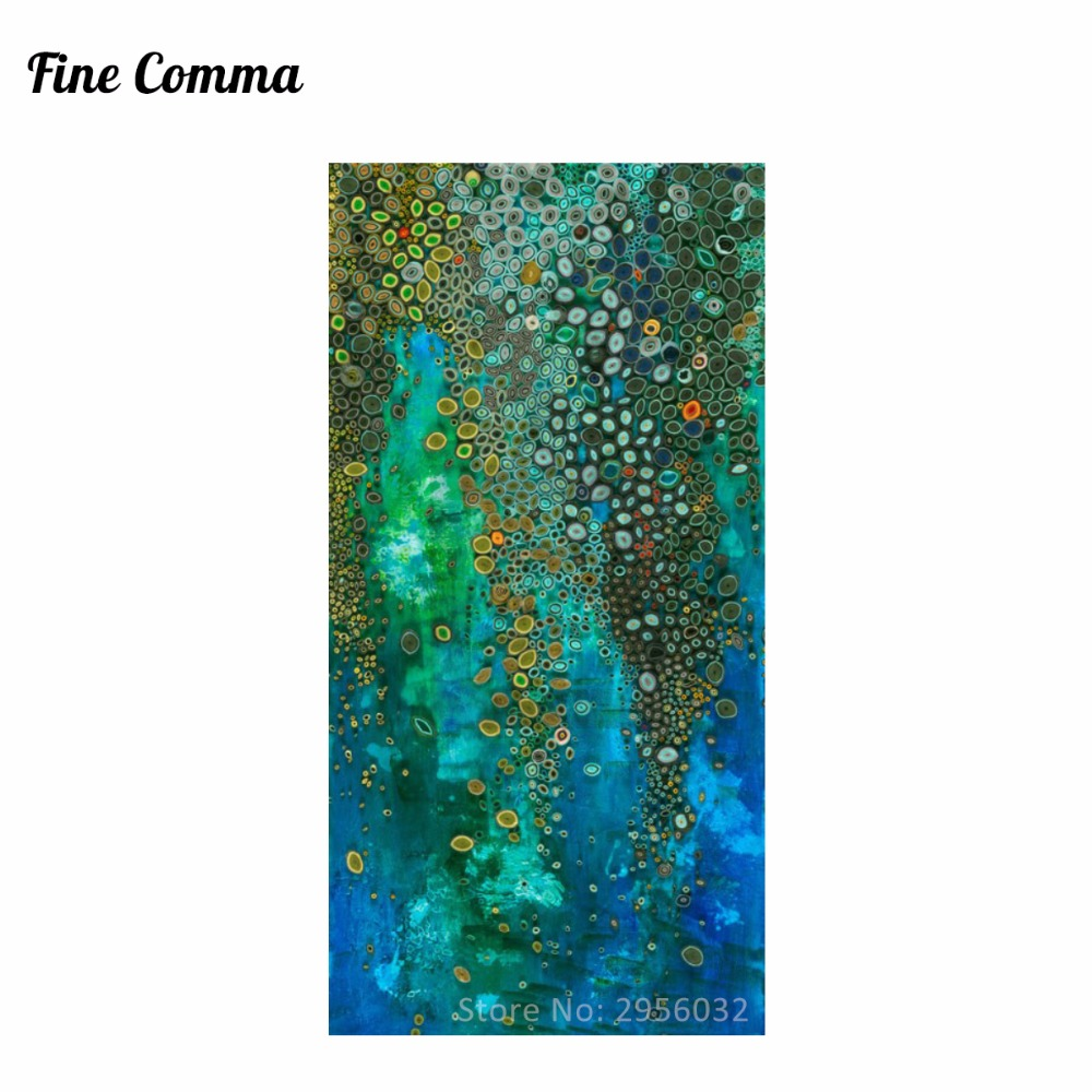Blue Klimt Style Abstract Oil Painting Hand Painted Large Canvas Wall Decor Art for Living Room Bedroom Handmade Canvas Wall Art