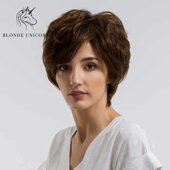 BLONDE UNICORN 8 Inch Short Straight Pixie Cut Hair Wig For Women Fluffy Multi-layers Curly With Side Bangs 3 Colors Free Ship