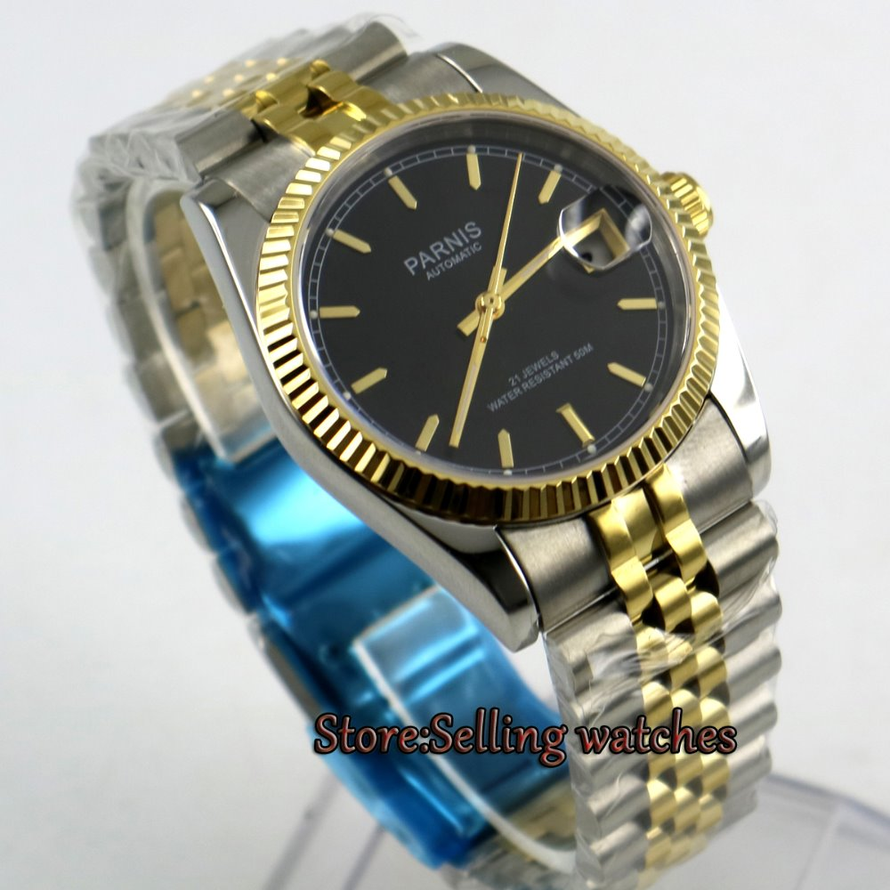 Top Luxury Mechanical Men's Watches PARNIS Full Stainless Steel Gold Automatic Watch Men Watches 2017 issue automatic watch men parnis 44mm power reserved steel black gold case brown leahter sapphire mechanical men s watches