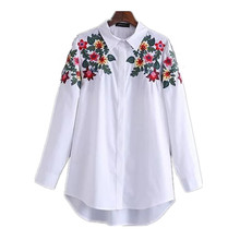 MAINROLES 2017 spring brief women fashion green leaves and floral embroidery long sleeve loose casual shirt blouse ladies blusas