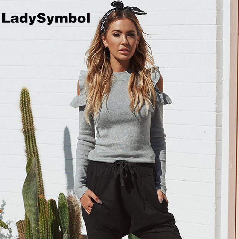 LadySymbol Winter Elegant Knitted Women Sweater Gray Pullover Autumn Off Shoulder Ruffle Tops Warm Slim Jumper