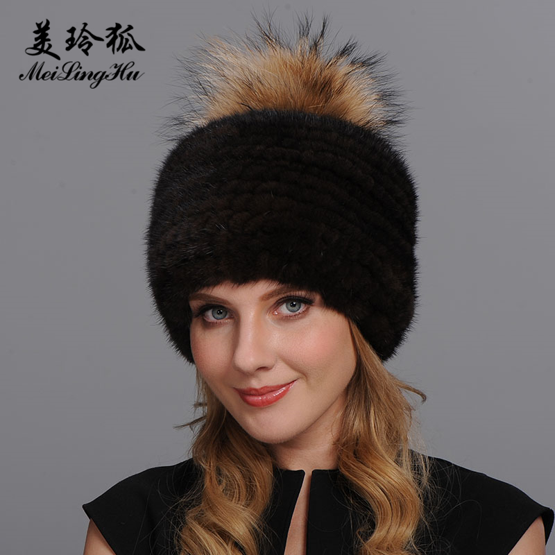 Girl Real Mink Fur Hat Cap Top Raccoon Fur Pompoms Hat Strap Knitted Women Winter Warm Caps Natural Genuine Mink Fur Hats Female