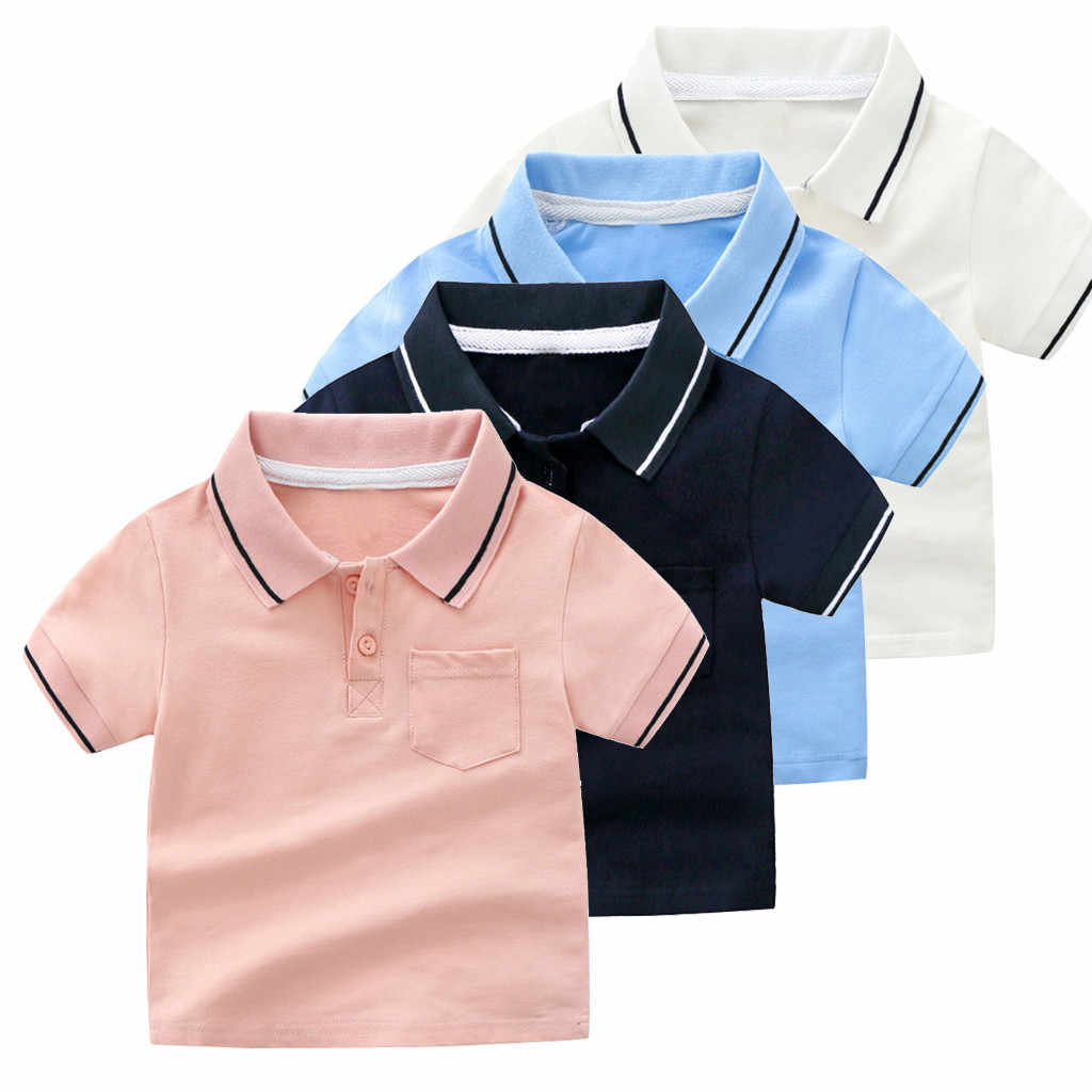 Baby Boy Summer Clothes Short Sleeve Solid Color Gentleman Tee Tops Kid Boys Cotton Turn-Down Collar Pocket Polo Shirt Handsome