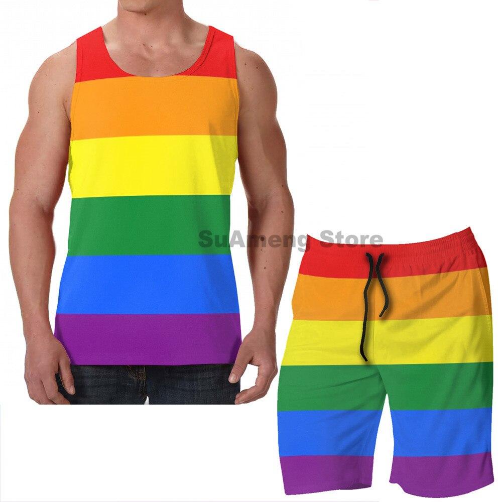 ZrGo Mens LGBT Beat Pride Flag Quick-Dry Summer Beach Surfing Board Shorts Swim Trunks Cargo Shorts