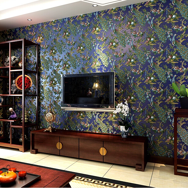 Southeast Asian Luxury Peacock Mural Wallpaper 3D Relief Background  Wallpaper For Walls Living Room Bedroom Wall Paper Roll -in Wallpapers from  Home ...