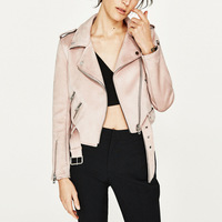 Spanish Women High Quality Suede Leather Jacket Spring Fall New Casual Fashion Lady Zipper Belt Coat