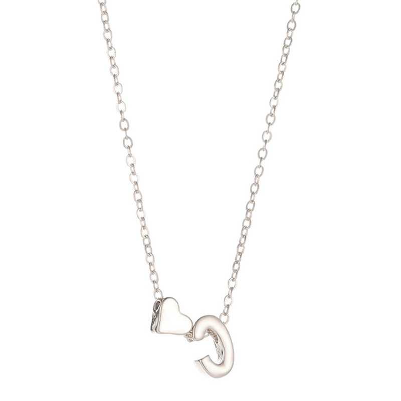 26 alfabeto Coração Pingente Colar Para Mulheres Presente Minimalista Goldsilver Letras de Cor Colar de Corrente