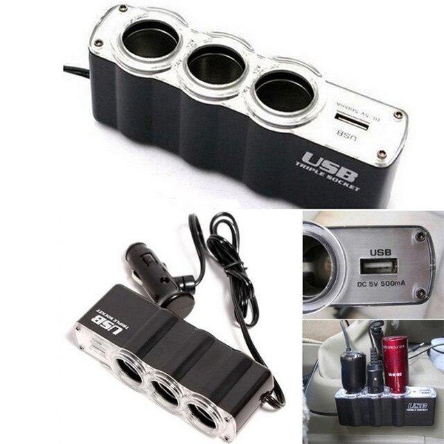 2017 Nuevo 1 USB cargador de suministro y tres enchufes encendedor de coche extensor divisor de coche-estilo