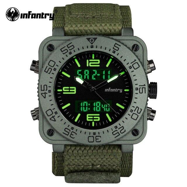 50ce15007f5 INFANTARIA Militar Assista Men Quartz Digital relógio de Pulso Mens Relógios  Top Marca de Luxo Exército