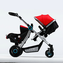 High Quality Twins Baby Stroller Aluminum Pram Twins High Landscape Shockproof Portable Twin Stroller Pushchairs Car Seat C01