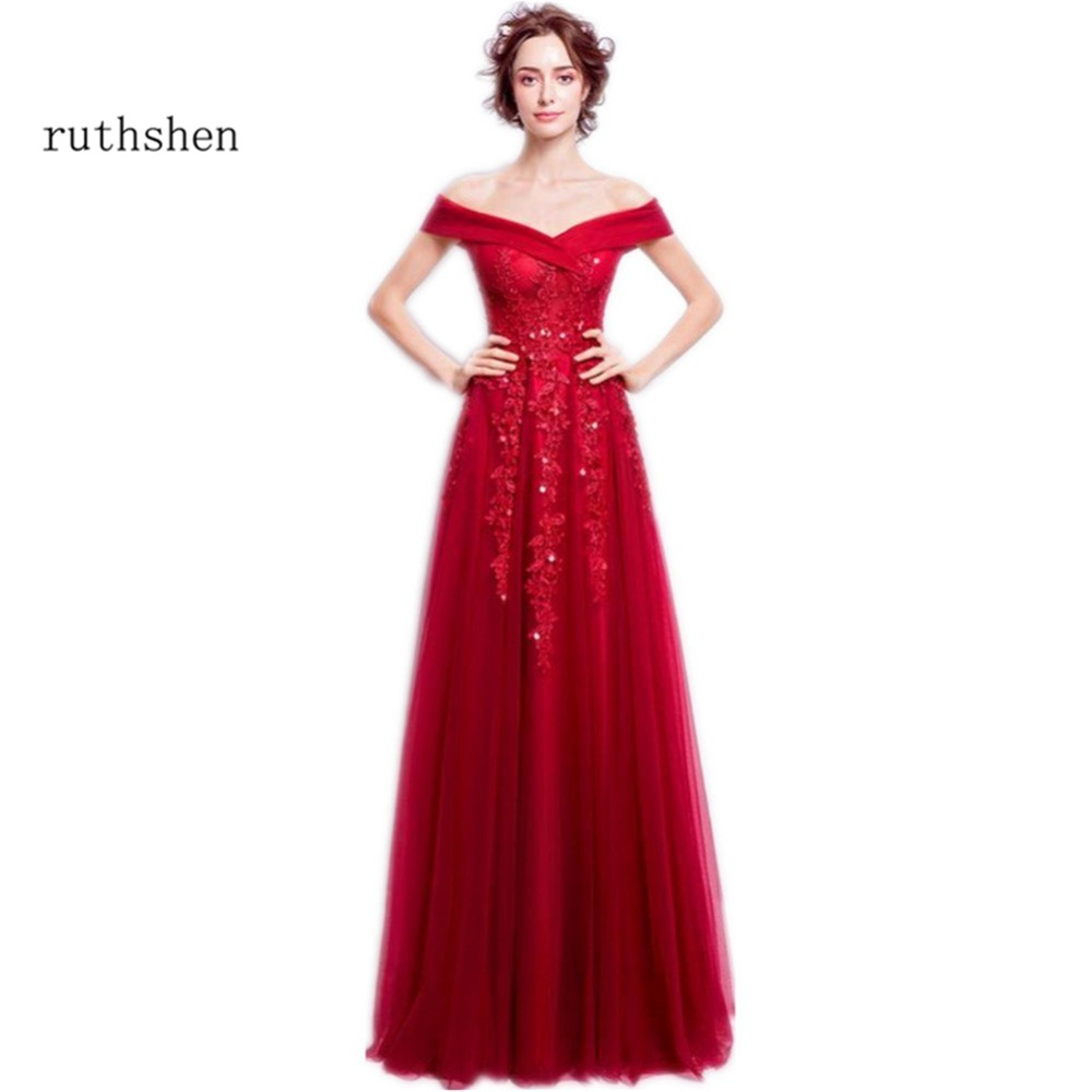 Discount Evening Gowns: Ruthshen Christmas Red Long Evening Gowns Off Shoulder