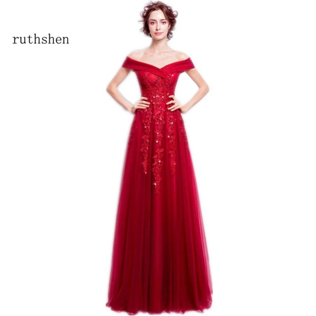 ruthshen Christmas Red Long Evening Gowns Off Shoulder Lace ...