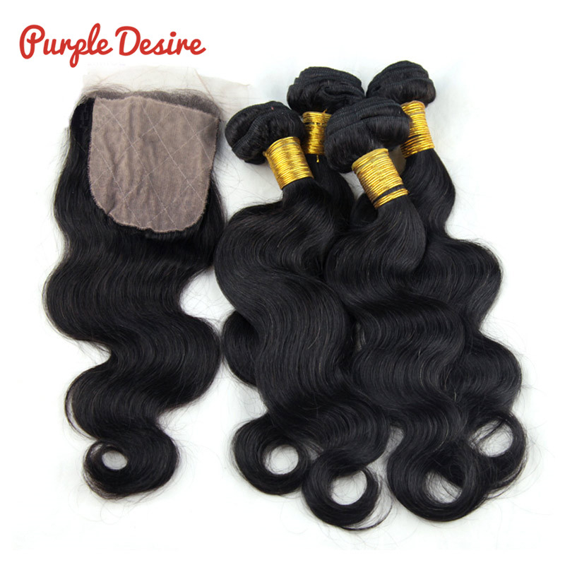 Silk Base Closure Body Wave 3 Bundles With Closure Real Brazilian Human Hair with Closure Free