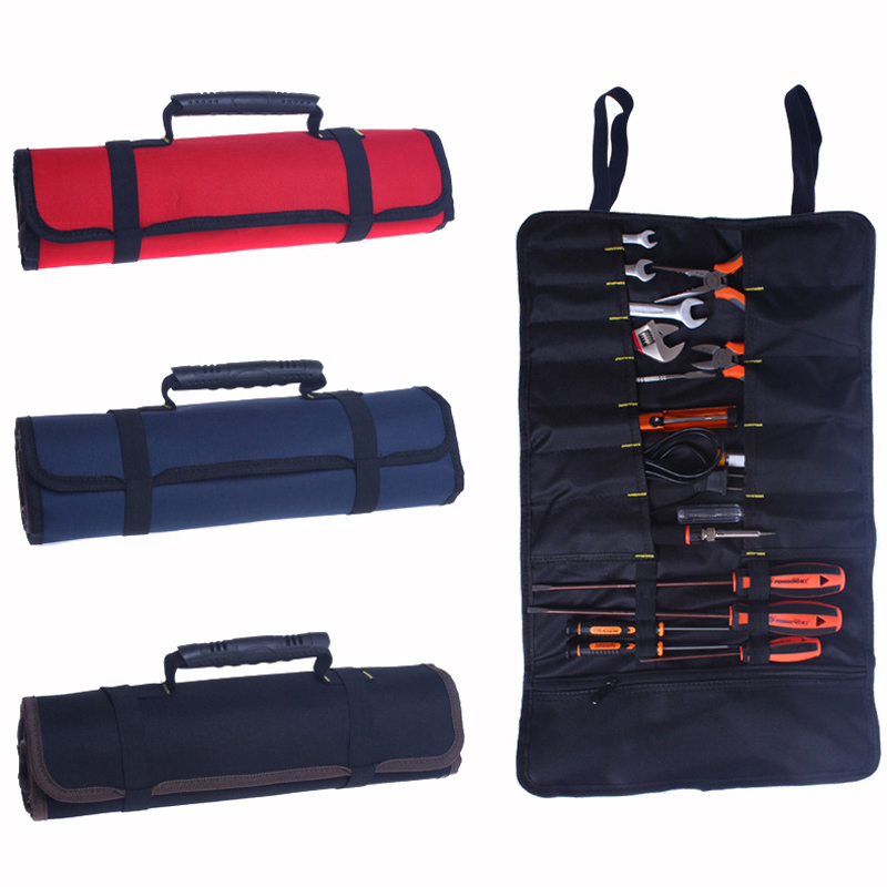 Urijk Roll-feed Portable 600D Oxford Fabric Canvas Tool Bag Storage Repairing Tool Screwdriver Plier Wrench Electrician Package tool kit features oxford cloth backpack canvas thickening electrician package tool bag maintenance package