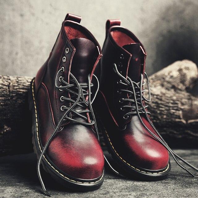 Erkekler 2019 için Çizmeler İngiliz Martins Vintage Punk Hakiki Martin Kış sıcak ayakkabı Martins Kaykay Ayakkabı Çöl Botları Erkek