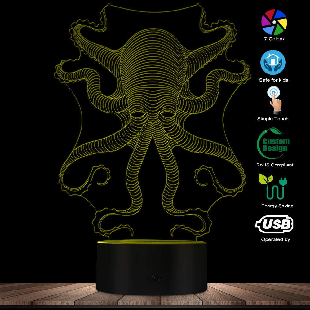 LED Optical Illusion Octopus 3D Effect Acrylic Lamp Colorful Decorative Novelty Table Night Light Unique Gift For Kids Baby