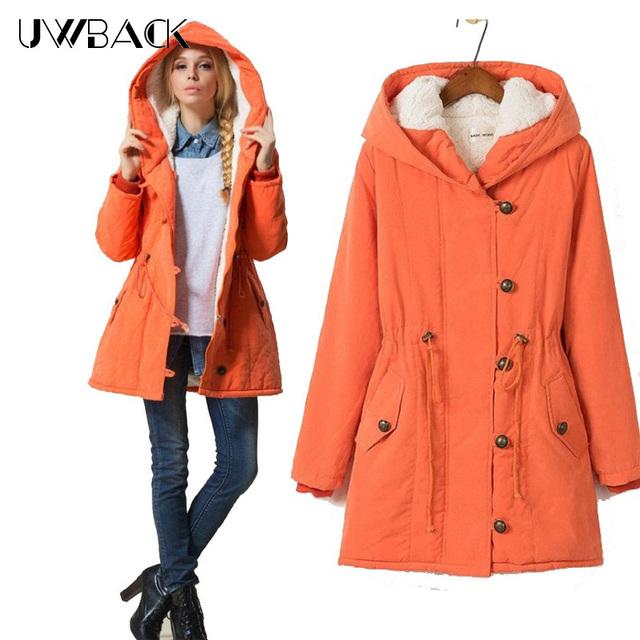 Uwback 2017 nova marca mulheres jaqueta de inverno com capuz de algodão-acolchoado plus size capuz revestimento das mulheres de médio-longo casaco feminino 4xl gb037