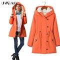 Uwback 2017 nueva marca mujeres chaqueta de invierno con capucha de algodón acolchado chaqueta de capucha medio-largo más el tamaño de las mujeres hembra abrigo 4xl gb037