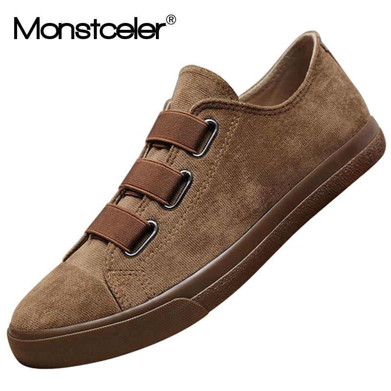 Monstcler marka Falannel erkek vulkanize ayakkabı nefes gençlik tuval Sneaker ayakkabı tembel rahat erkek makosen ayakkabılar kahve haki