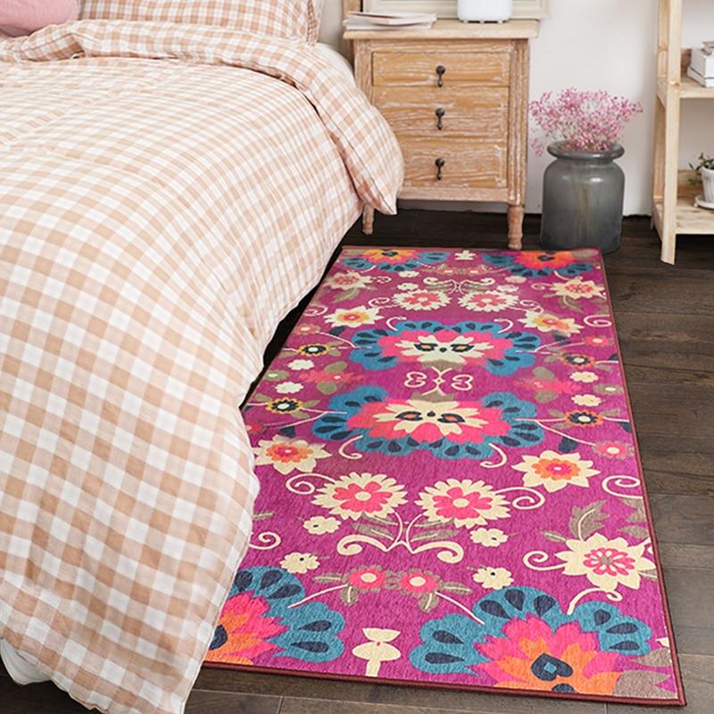 Tapis de chevet floral coloré 70*180 cm, tapis longue taille pour cuisine, tapis de salle de bain, tapis de sol vestiaire, tapis de décoration