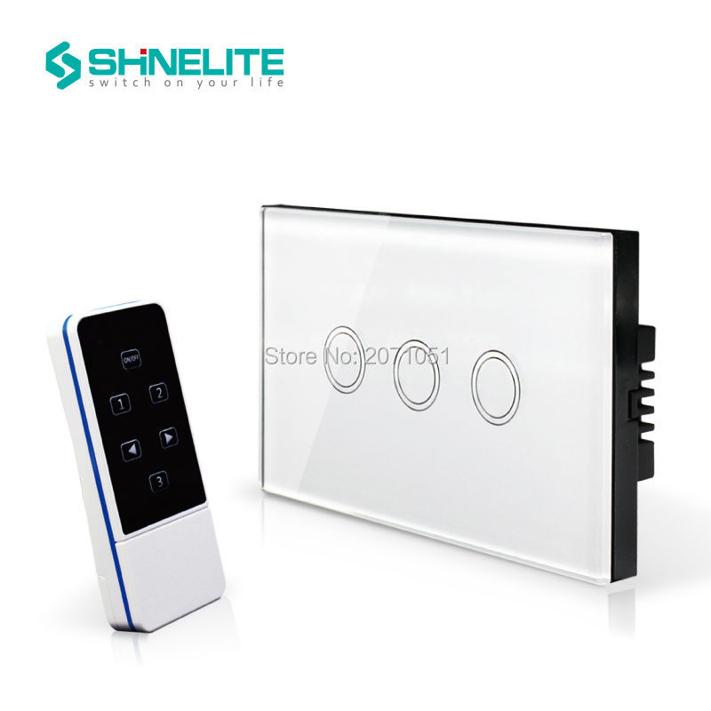 Shinelite US/AU smart home house automation touch screen RF433 3Gang Smart Remote Control switch,White Tempered Crystal Glass smart home us black 1 gang touch switch screen wireless remote control wall light touch switch control with crystal glass panel