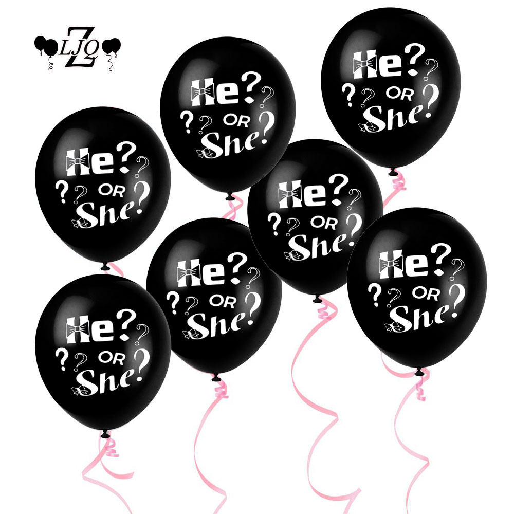 ZLJQ 10pcs Gender Reveal Party Pregnancy Announcement Decoration Balloons Supplies He or She 12 Latex Balloon for Baby Shower