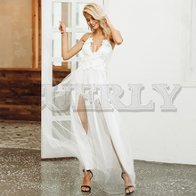 CUERLY Sexy deep v neck mesh split maxi dress women Elegant lace christmas white Autumn winter long party dresses vestido