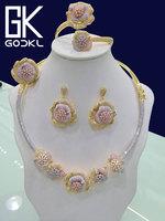 GODKI Luxury Nigerian Jewelry sets For Women Wedding Cubic Zirconia Flower African Beads Jewelry Sets Indian bridal jewelry sets