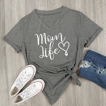 2017 Summer Casual T shirt Female Tee Loose Tops Fashion Women T-Shirts Mom Life Letter Printed V-Neck Short Sleeve Tops