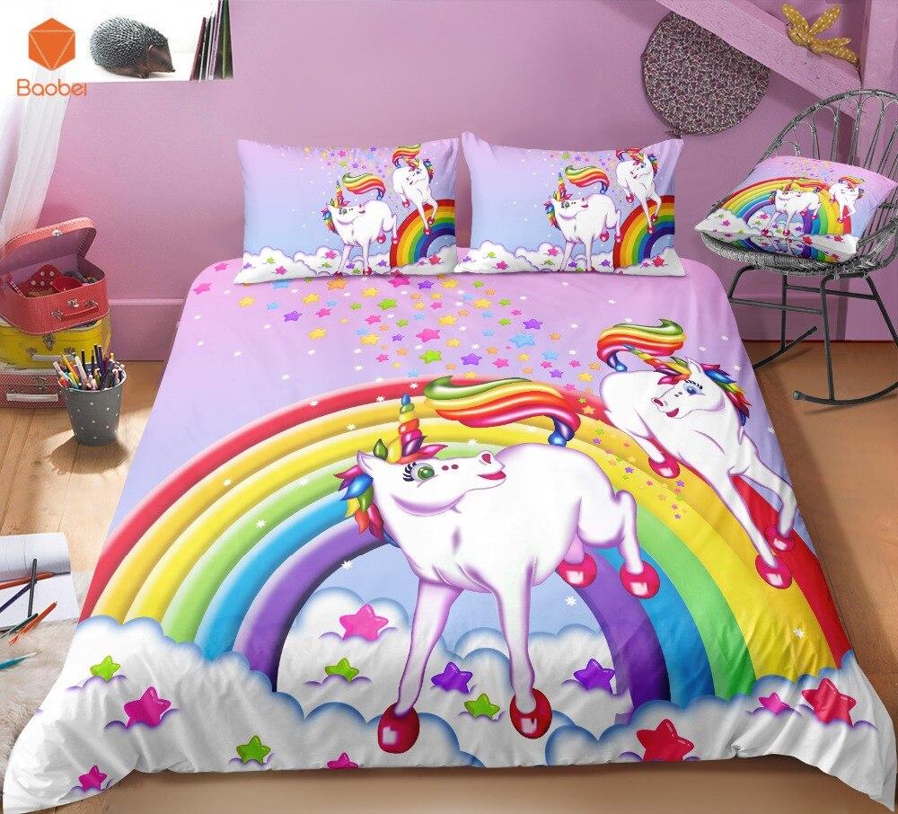 3D arc-en-ciel licorne ensemble de literie taies d'oreiller cartoon lit simple housse de couette doux rêve pour enfants filles 3 pièces coloré literie Sj231