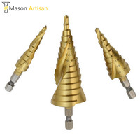 3Pcs Lot Step Cone Drill Bit HSS Hex Shank Spiral Hole Cutter 4 12 4 20