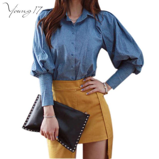 Young17 mulheres fresco blusa 2016 moda casual mangas compridas blusas feminino camisa azul chemise Plus Size Femme Tops blusa escritório
