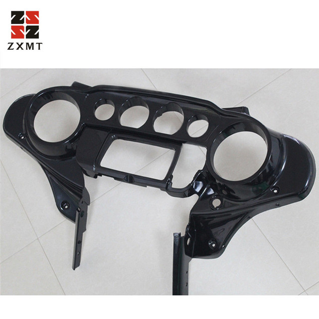 ZXMT Unpainted Black fit For Harley Electra Street Glide Headlight Fairing Mask Front Cowl Fork Mount Motorcycle Parts 2014-2018