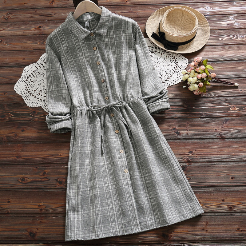 cb16495869c Autumn winter warm soft gray plaid dress for women new fashion long sleeve  cotton linen dress mori girl vestidos-in Dresses from Women s Clothing   ...