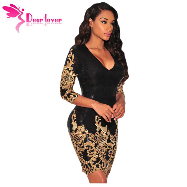 Dear Lover Sequined dresses Party Black Gold Silver 3 4 Sleeves Bodycon  Dress Autumns Night Club Sexy Vestido de Festa LC22794 01f715c25161