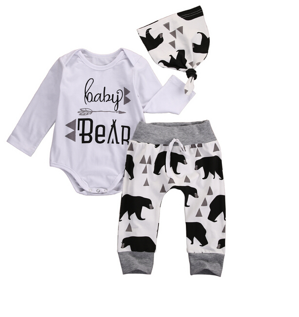 Cute 3pcs Baby Boy Clothes Outfits Newborn Baby Boy Long Sleeve Rompers+Bear Print Pants+Hat Outfits Set Clothing