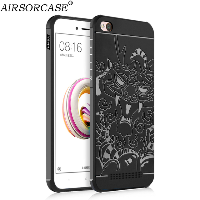 sports shoes 91ba0 91e6e US $4.93 |5.0'' For Xiaomi Redmi 5A Case Redmi5A Cover 3D Carved Dragon  Back Cover Shell Matte Soft Silicone TPU Mobile Phone Cases-in Fitted Cases  ...