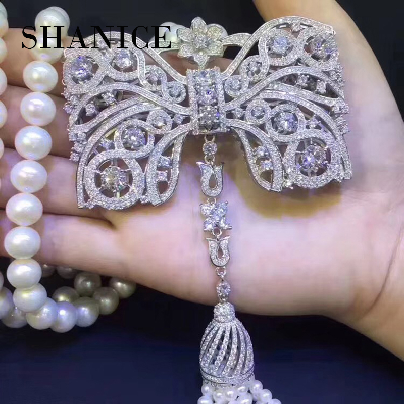 SHANICE Big Bow DIY Women Luxury Pearls Necklace Making Findings Supplies Paved Zircon Connector Suspension Pendants Accessories