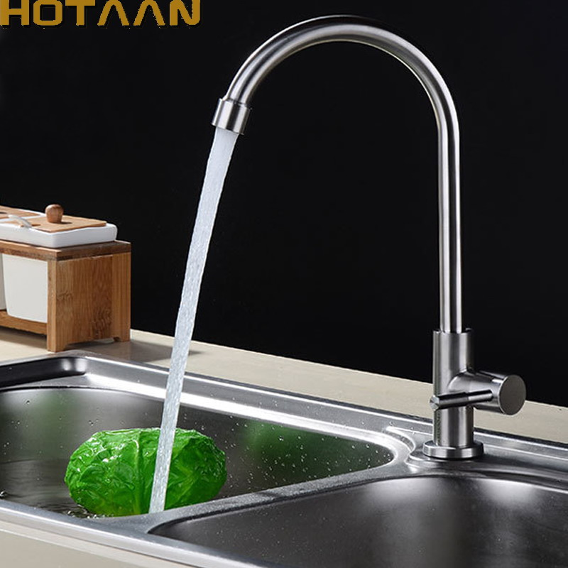Satin Nickel SUS 304# Stainless Steel Sink Single Lever Kitchen Tap Basin Mixer For Kitchen Sink Water Tap Swivel Faucet YT-6021