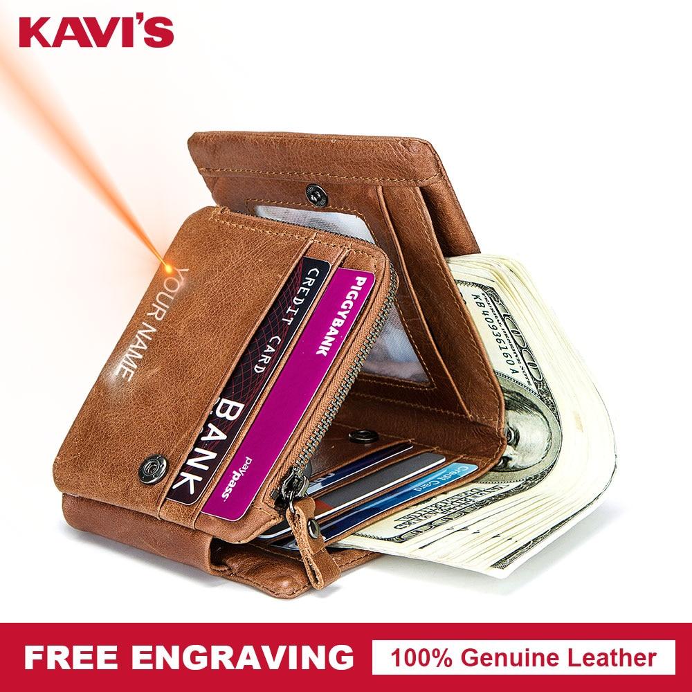 KAVIS Free Engraving Trifold Genuine Leather Men Wallet Coin Purse Male Zipper Walet Portomonee PORTFOLIO Card Holder Fashion