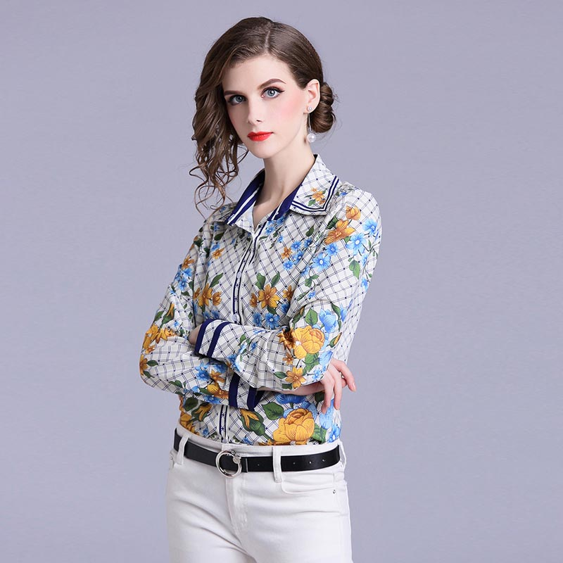 JKKFZY  2018 New Autumn Women Design Runway Plaid Flowers Print Blouse High Quality Full Sleeve Turn Down Collar Work Shirt