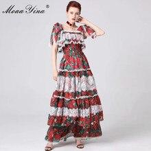 MoaaYina Moda Tasarımcı Pist elbise İlkbahar Yaz Kadın Elbise Spagetti Kayışı Çiçek Baskı Ruffles Dantel Maxi Elbiseler