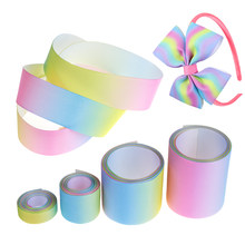 1 meter/lot 9mm/ 25mm/38mm/50mm gradient colors rainbow printed grosgrain ribbon DIY Wrapping Wedding Party Hair Bow Decor(China)