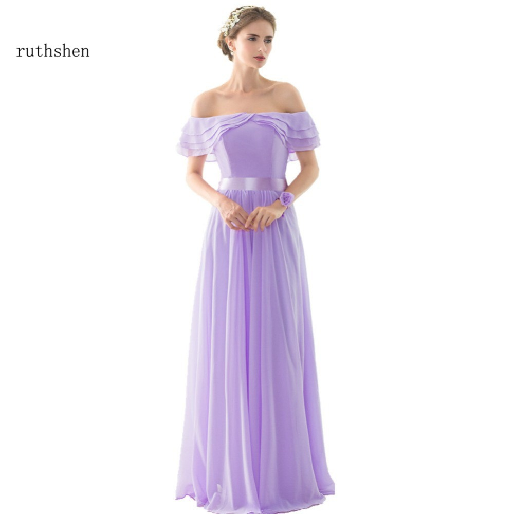 Vestido De Madrinha 2018 Off Shoulder Light Purple Chiffon Long ...