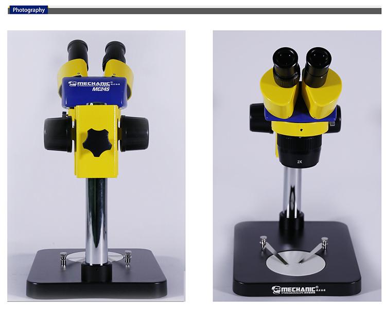Zoom Stereo 5X- 160X Binocular Mobile Phone Stereo Microscope Stereoscope With 0.5X/1.5X/2X Objective MECHANIC MC24S-B1