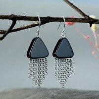 S925 Silver Earring personalized retro wind triangle Black Agate tassel earphone female long silver fashion earrings